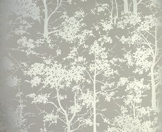 Mandara Wallpaper Beige wallpaper with a forest of silver trees - osborne and little