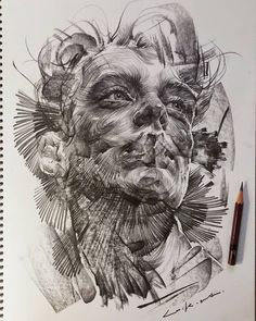 Charcoal Drawing Design Swirling Lines and Swaths of Charcoal Form Dramatic Portraits by Lee. Portraits Illustrés, L'art Du Portrait, Charcoal Portraits, Pencil Art, Pencil Drawings, Art Drawings, Pencil Portrait Drawing, Pencil Drawing Tutorials, Drawing Tips