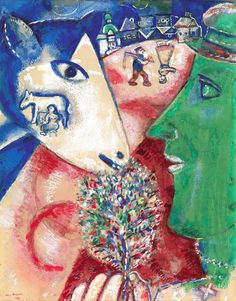 Marc Chagall,  I and the Village. Pencil, watercolour and gouache on paper, 1912. Royal Museums of Fine Arts of Belgium, Brussels.