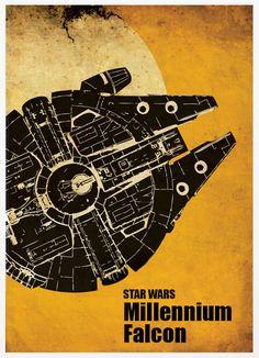 Star Wars Millennium Falcon A3 Poster Vintage por Posterinspired