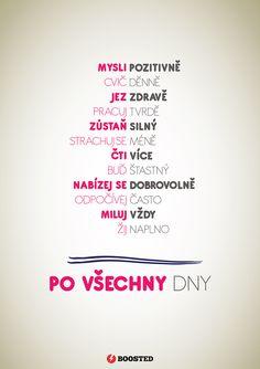Motivační plakát Mysli pozitivně (Česky)
