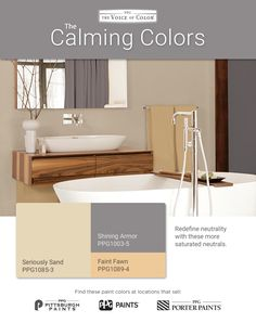 The Calming Palette is a relaxing, neutral set of harmonizing paint colors. Redefine neutrality with these saturated neutrals. This palette features seashell toned colors including a dark gray, sandy beige and sunny yellow.