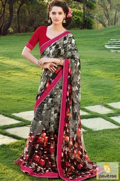 Fashionable women surely like to step out in style wearing this grey color georgette casual faux printed saree online shopping with discount deal. Shop this saree with COD. #saree, #casualsaree more: http://www.pavitraa.in/store/georgette-saree/