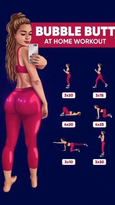 Bubble Butt Workout, Leg And Glute Workout, Buttocks Workout, Full Body Gym Workout, Summer Body Workouts, Gym Workout Videos, Fitness Workout For Women, Slim Waist Workout, Gym Workout For Beginners