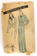Butterick 3708 Misses 1940s Negligee and Bed Jacket Bust 34 Fitted Corselet Midriff Dolman Sleeve [3708] - $34.99 : Vintage Sewing Patterns, Patterns For Sale   Misses' Negligee and Bed Jacket: Corselet Midriff  (View A) Winged smartness in this deep armhole sleeved negligee. A fitted corselet midriff, in dramatic contrast, points up that tiny waist look. The softly bloused bodice buttons up to a mounting neck. (B) Matching bed jacket with self midriff.