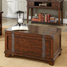 Have to have it. Aspen Rectangular Russet Brown Storage Trunk Coffee Table - $412 @hayneedle