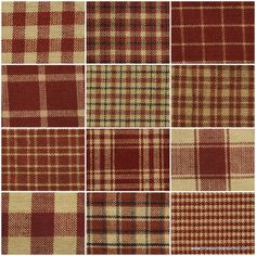 Red Homespun Fabric Fat Quarter Bundle from Dunroven House SKU# H100-300