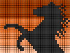 Horse stallion perler bead pattern - maybe cross stitch too Cross Stitch Horse, Cross Stitch Animals, Pixel Crochet, Crochet Chart, Seed Bead Patterns, Beading Patterns, Cross Stitch Embroidery, Cross Stitch Patterns, Pixel Drawing