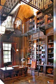 Two Story Library by champagne.chic, ...perhaps some of the paneling is made with our PureBond :) #PureBond #library