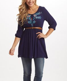 Another great find on #zulily! PinkBlush Navy Geometric-Accent Tie-Front Belted Tunic #zulilyfinds