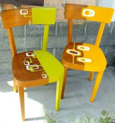 Ideas For Retro Furniture Makeover Inspiration Hand Painted Chairs, Funky Painted Furniture, Recycled Furniture, Art Furniture, Furniture Projects, Painted Benches, Cheap Furniture, Retro Furniture Makeover, Muebles Shabby Chic