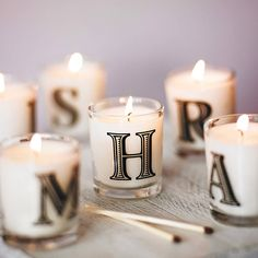 alphabet scented candle by the country candle company | notonthehighstreet.com These are very sweet, and I love having candles burning, it'd be nice to have letters for everyone living in the house :)