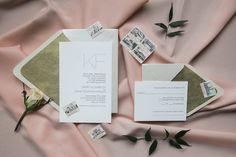 Modern pink and gold wedding invitations | Havi Frost Photography | Fingerprint Designs