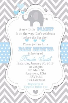 Baby Shower Invitation, Elephants Invitation, Baby Shower, Invitations, Elephant