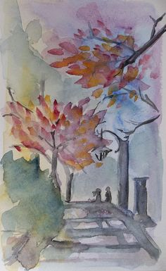 Romantic Small couple landscape original by dragonflypoppy on Etsy, $42.00