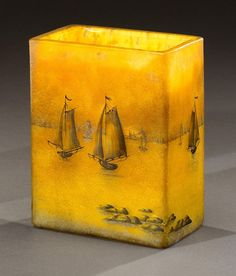 FRENCH GLASS, Daum Nancy, Marine vase