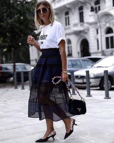 Givenchy Shirt | Self Portrait skirt | Prada velvet bag & Dior J'adior Slinback pumps | street style