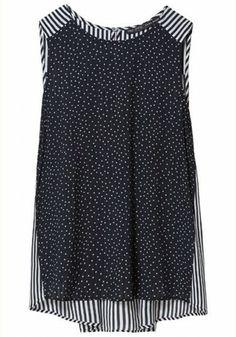 Black Irregular Patchwork Round Neck Sleeveless Chiffon Vest