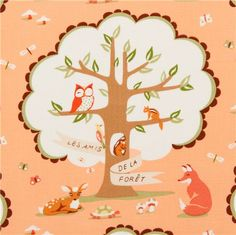 peach Michael Miller animal fabric with forest animals