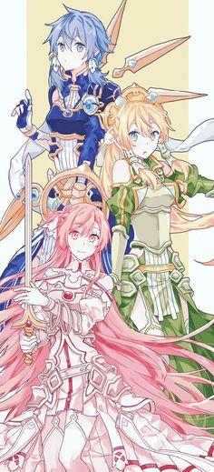 Sword Art Online - Asuna, Leafa y Shinon Fan Art Anime, Anime Artwork, Anime Art Girl, Manga Girl, Kunst Online, Online Art, Leafa Sword Art Online, Manga Anime, Character Art