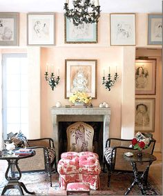 Conch shell pink walls, gray marble, dark furniture and lighting, French blue window trim, sweeeeeet!