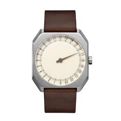 slow Jo 17 - Silver Swiss watch with stainless steel case and dark brown vintage leather band