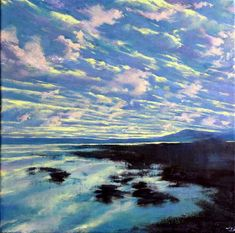 12″ x 12″ x 1.75″, oil on deep edged canvas.● Every morning, when light chases away darkness, a different arrangement of colour and marks appear on the blank canvas, the sky.  This painting foll…