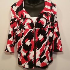 Erin London Jacket Super classy jacket! This is an Erin London red black and white jacket. 97% polyester 3% spandex. Such fun color and design. Thanks for shopping! Jackets & Coats