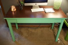 painted and stained desk