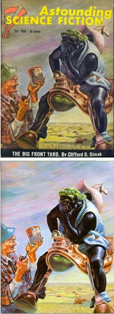 FRANK KELLY FREAS - The Big Front Yard by Clifford D. Simak - Oct 1958 Astounding Science Fiction - cover by isfdb - print by collectorshowcase.fr