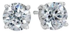 Platinum-Plated Sterling Silver Swarovski Zirconia 2 cttw Round Stud Earrings #amazoncollection #sterlingsilver See detail at http://zingxoom.com/d/cwHHJ76j