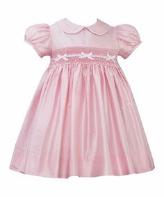 Pink Smocked Cailyn Silk Puff-Sleeve Dress - Infant | Daily deals for moms, babies and kids