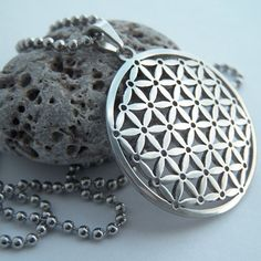 Flower of life  stainless steel pendant on ball by beadsocean, $28.00