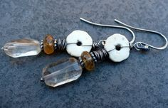 PEASANT-sterling silver, rutilated quartz, hessonite, earrings