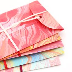 five lovely handmade marbled paper envelopes | by MissRuth