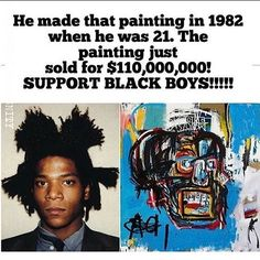 WEBSTA @ mediablackoutusa - How many of us would have looked past this painting if it was our friends work or a young up and coming artist? You never know who you are in company with. We gotta support the talented people in our community. Support their crafts.--------------------------------------------------------------------------Jean-Michel Basquiat (French: [ʒɑ̃ miʃɛl baskija]; December 22, 1960 – August 12, 1988) was an American artist.[1] Basquiat first achieved fame as part of SAMO©…