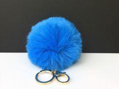 NEW! Faux Rabbit Fur Pom Pom bag Keyring Hot Couture Novelty keychain pom pom fake fur ball in sky blue by YogaStudio55 on Etsy