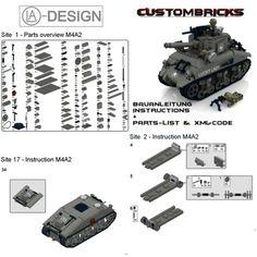 Custom Instruction Sherman M4A2 WWII WW2 Army Tank PDF Made of Lego® Brick | eBay
