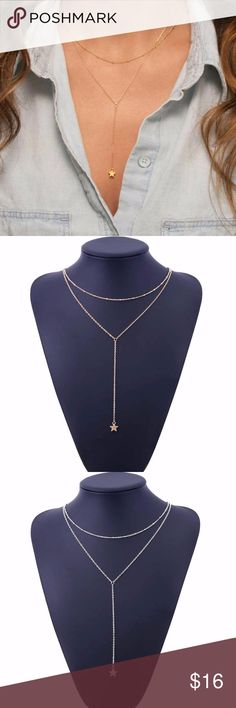5 for $25 Two Layer Star Necklace Two Layer Y Shaped Star Statement Necklace Jewelry Necklaces