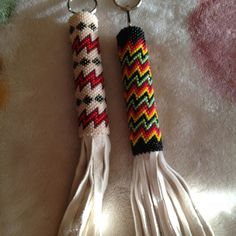 Beaded key holders. Maybe also for wooden needle cases.