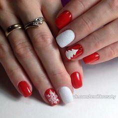 Beautiful new year's nail, Cute nails, Nails with fir-tree, New Year nails 2018, New year nails ideas 2018, New years nails, Party nails ideas, Red and white nails