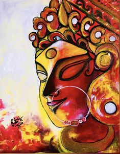 Excited to share this item from my shop: Maa Durga Contemporary modern abstract style painting Durga Maa Paintings, Durga Painting, Indian Art Paintings, Modern Art Paintings, Oil Paintings, Abstract Paintings, Painting Art, Painting Lessons, Abstract Oil
