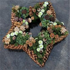 DIY star-shaped hanging wreath or table centerpiece with pinecone and tree nuts.Could frame the star with pinecones glued at tips them oasis star inside.With pine cones you can do the most beautiful things. The 10 most beautiful deco . Noel Christmas, Rustic Christmas, Winter Christmas, All Things Christmas, Christmas Wreaths, Christmas Decorations, Holiday Decor, Pine Cone Crafts, Wreath Crafts
