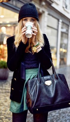 Adorable beautiful winter fashion style with woolen hat and coat