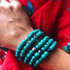 Detail of my emerald green Boho Bracelets! Boho Green, Sissi, Emerald Green, Turquoise Bracelet, Boho Fashion, Handmade Jewelry, Jewels, Beads, Detail