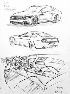 Car drawing 151204 2015 Ford Mustang Prisma on paper. Kim.J.H
