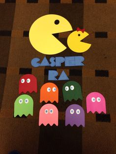 RA door decs, door tags, door decorations, res life, Texas Wesleyan, pacman