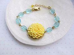 Yellow and Aqua bracelet Sunshine Yellow by HappyTearsbyMicah, $18.00