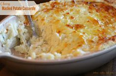 Cheesy Mashed Potato Casserole - Make-ahead mashed potato casserole is an absolute life saver. Not only for entertaining but on days you know you're going to be on the run and will need to pull dinner together in a snap.