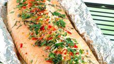 Helstekt laksefilet Frisk, Vegetable Pizza, Turkey, Vegetables, Food, Brussels Sprouts, Beef, Popular Recipes, Turkey Country